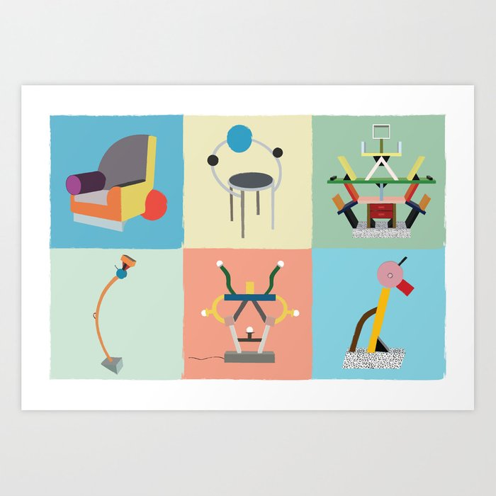 Ettore Sottsass Memphis Style Lamps And Furniture Art Print