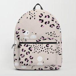 Leopard spots and dots animal print boho vibes trend nude pink Backpack