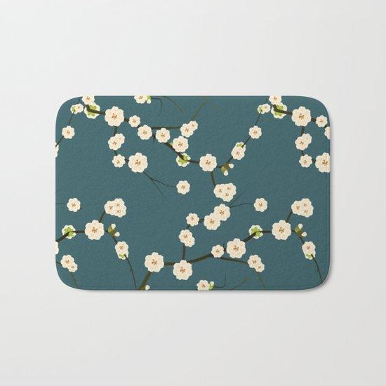 Cherry Blossoms on Blue Background Bath Mat