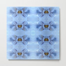 Pastel Blue Flower Pattern Metal Print
