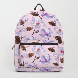 Elegant lilac violet blush pink brown modern floral illustration Backpack