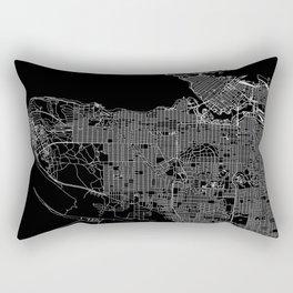 Vancouver Black Map Rectangular Pillow