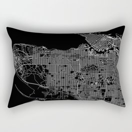 Vancouver Black Map Rectangular Pillow