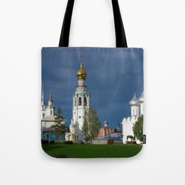 Landscape with the Ancient Saint Sophia Cathedral and Vologda Kremlin in the Russian North Tote Bag