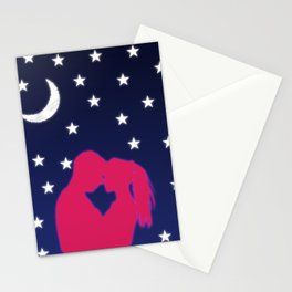 mid night love in moon Stationery Cards
