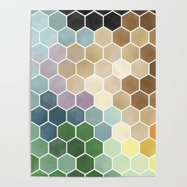 Hexagon Watercolor Poster