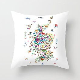 Animal Map of Scotland for children and kids Throw Pillow