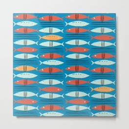 go fish  fishing animals sea water beach red blue orange grey Metal Print