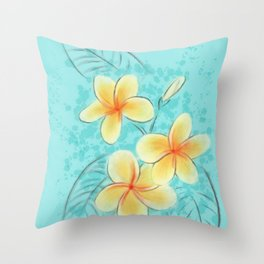 Tropical Turquoise Frangipani Throw Pillow