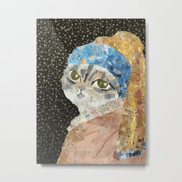 Cat Without A Pearl Earring Metal Print