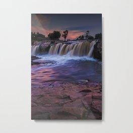Waterfalls at Sunset in Falls Park at Sioux Falls South Dakota Metal Print