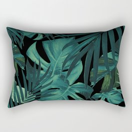 Tropical Jungle Night Leaves Pattern #1 #tropical #decor #art #society6 Rectangular Pillow