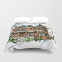 victorian Duvet Covers featuring Victorian Winter by Shelley Ylst Art