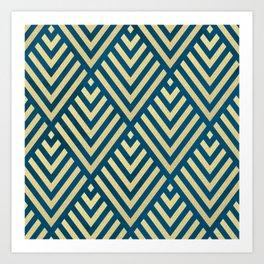 ROMBI GOLD & BLUE Art Print