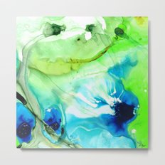 Blue And Green Abstract - Land And Sea - Sharon Cummings Metal Print