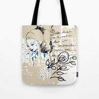 letter Tote Bags featuring Letter by Irmak Akcadogan