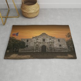 The Alamo Mission in San Antonio Texas with the Lonestar Flag Flying No.0256 A Fine Art Historical P Rug