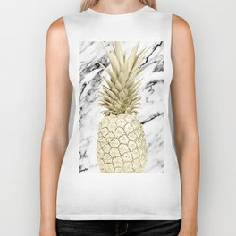 Rose Gold Pineapple Surprise on Simply Marble Biker Tank