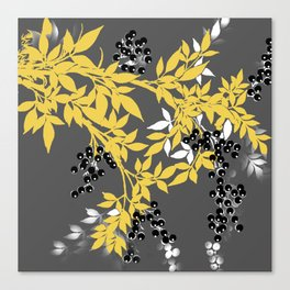 TREE BRANCHES YELLOW GRAY  AND BLACK LEAVES AND BERRIES Canvas Print