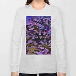 Foliage Abstract In Blue, Pink and Sienna Long Sleeve T-shirt