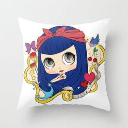 ✪ Stella Rock 'n Roll Tattoo ✪  - Blythe Doll Inspiration Throw Pillow