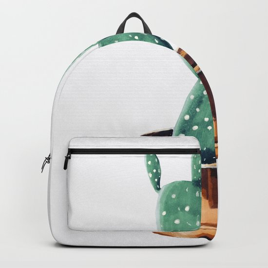 Potted Cactus Bronze Copper Backpack