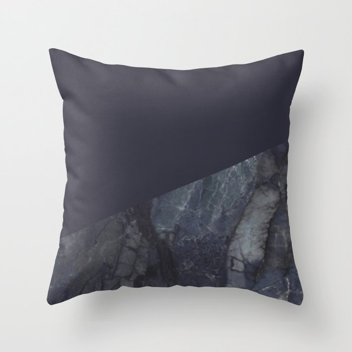 Marble Geometric Navy Blue Indigo Throw Pillow