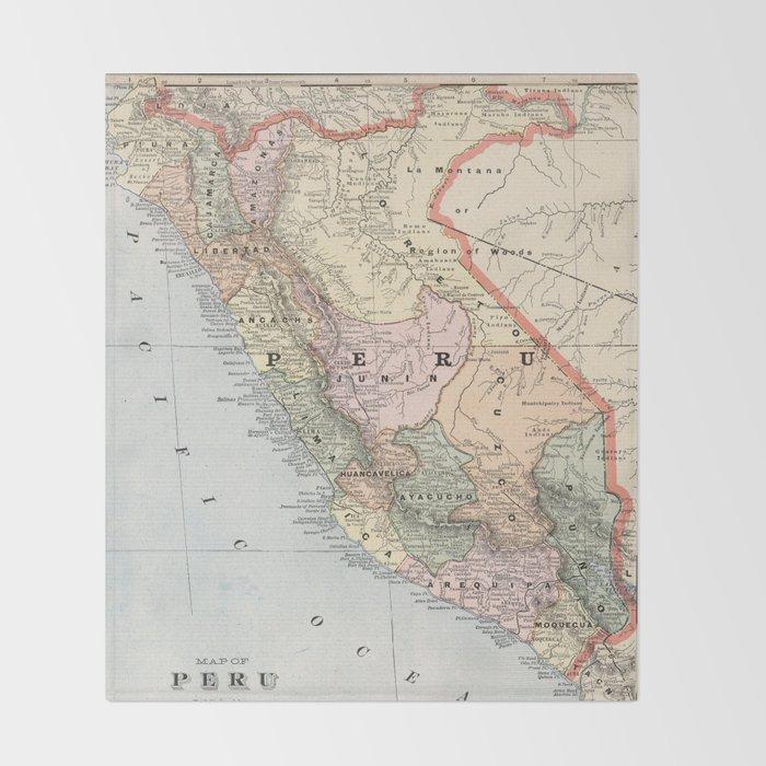 Vintage Map of Peru (1901) Decke