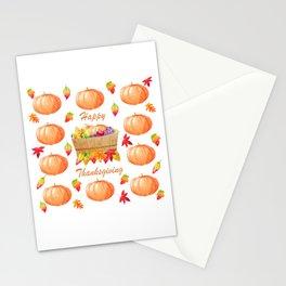 Watercolour Pumpkin Turkey Pattern Happy Thanksgiving Stationery Cards