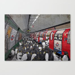 Penguins on the London Underground Canvas Print