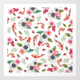 Modern pink red watercolor tropical floral koi fish pattern Art Print