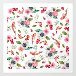 Modern pink red watercolor tropical floral koi fish pattern Art Print