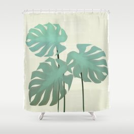 Nature Monstera Plant Leaves Shower Curtain