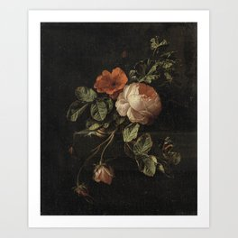 Botanical Rose And Snail Art Print