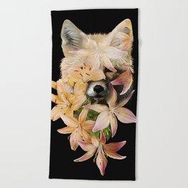 Foxy Flowers Beach Towel
