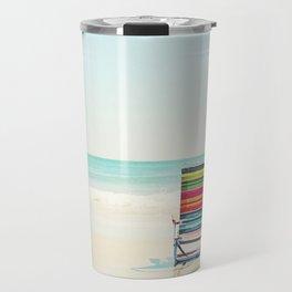 Beach Chair Photography, Colorful Coastal Ocean Landscape Travel Mug