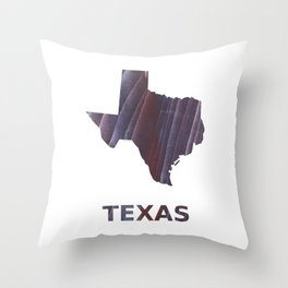 Texas map outline Dark purple striped wash drawing Throw Pillow