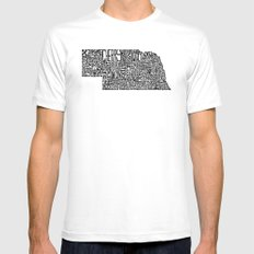 Typographic Nebraska White Mens Fitted Tee MEDIUM