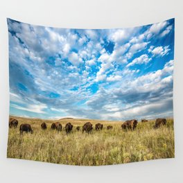 Grazing - Bison Graze Under Big Sky on Oklahoma Prairie Wall Tapestry