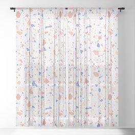 Peach Blue Terrazzo Sheer Curtain