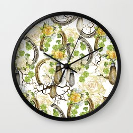 Watercolor horseshoes with roses Wall Clock
