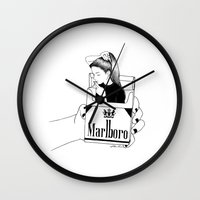 smoke Wall Clocks featuring Smoke by Henn Kim