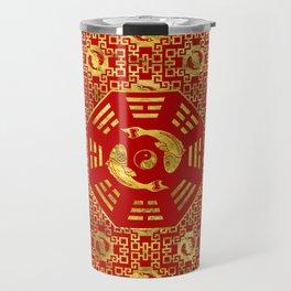 Luxury Oriental Red on Black Pair of Koi Fish in Bagua Travel Mug
