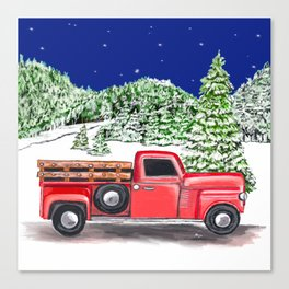 Old Red Farm Truck Winter Canvas Print