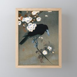 Vintage Japanese Crow and Blossom Woodblock Print Framed Mini Art Print