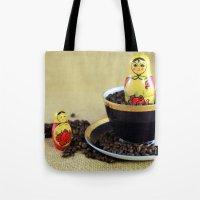 russian Tote Bags featuring Russian Coffee by Falko Follert Art-FF77