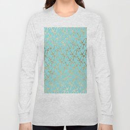 Modern teal faux gold nautical elegant anchor Long Sleeve T-shirt