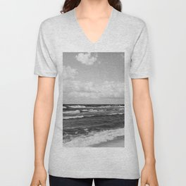Wavy Day on the Lake in Black and White Unisex V-Neck