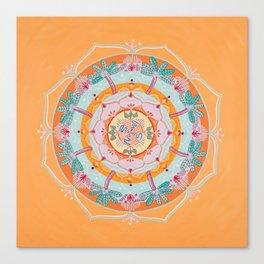 Tangerine Palm Tree Mandala Canvas Print