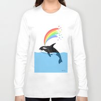 killer whale Long Sleeve T-shirts featuring Killer Whale Blows Rainbow by Noel ILL